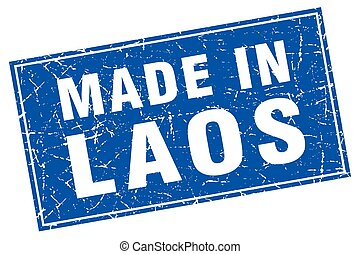 Laos blue square grunge made in stamp