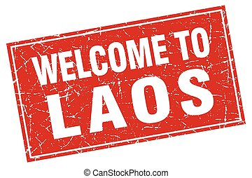 Laos red square grunge welcome to stamp
