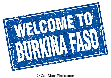 Burkina Faso blue square grunge welcome to stamp