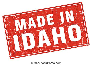 Idaho red square grunge made in stamp