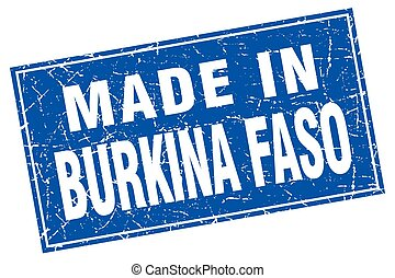 Burkina Faso blue square grunge made in stamp