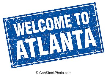 Atlanta blue square grunge welcome to stamp