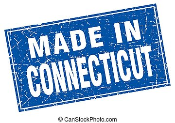 Connecticut blue square grunge made in stamp
