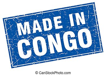 Congo blue square grunge made in stamp