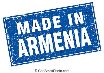 Armenia blue square grunge made in stamp