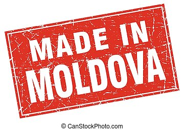 Moldova red square grunge made in stamp