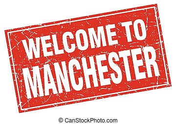 Manchester red square grunge welcome to stamp