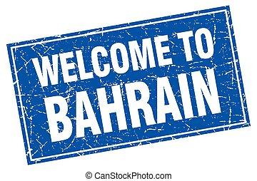 Bahrain blue square grunge welcome to stamp