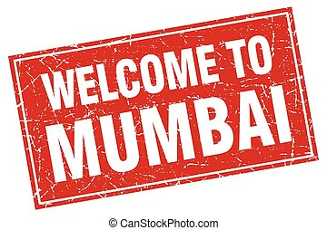 Mumbai red square grunge welcome to stamp
