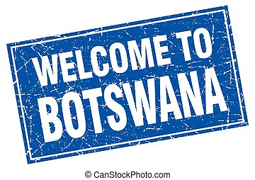 Botswana blue square grunge welcome to stamp