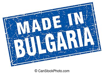 Bulgaria blue square grunge made in stamp
