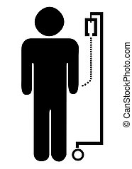 Patient on drip - Silhouetted symbol of male patient on...