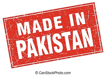 Pakistan red square grunge made in stamp