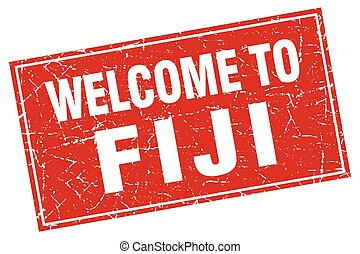Fiji red square grunge welcome to stamp