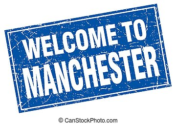 Manchester blue square grunge welcome to stamp
