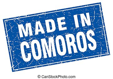 Comoros blue square grunge made in stamp