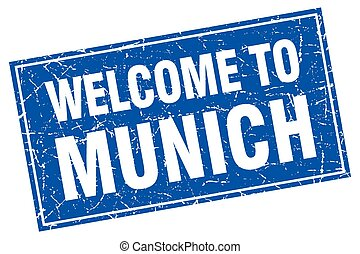 Munich blue square grunge welcome to stamp