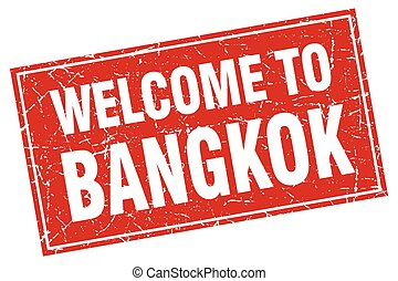 Bangkok red square grunge welcome to stamp