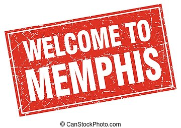 Memphis red square grunge welcome to stamp