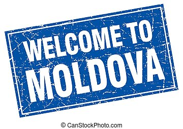 Moldova blue square grunge welcome to stamp