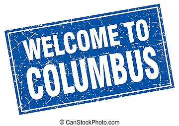 Columbus blue square grunge welcome to stamp