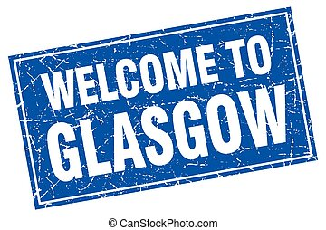 Glasgow blue square grunge welcome to stamp
