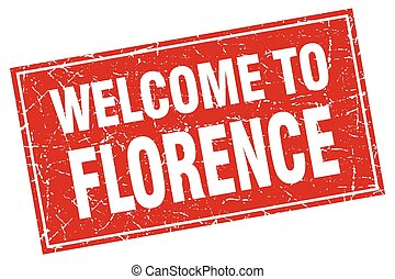 Florence red square grunge welcome to stamp