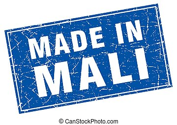 Mali blue square grunge made in stamp