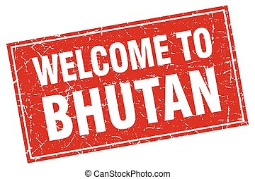 Bhutan red square grunge welcome to stamp