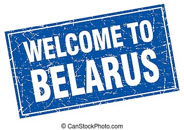 Belarus blue square grunge welcome to stamp