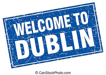 Dublin blue square grunge welcome to stamp