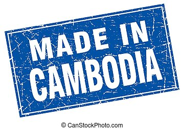 Cambodia blue square grunge made in stamp