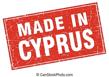Cyprus red square grunge made in stamp