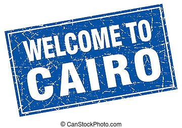 Cairo blue square grunge welcome to stamp