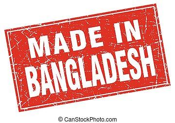 Bangladesh red square grunge made in stamp