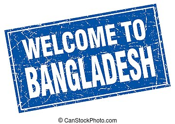 Bangladesh blue square grunge welcome to stamp