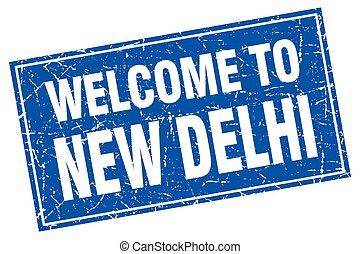 New Delhi blue square grunge welcome to stamp