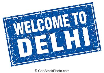 Delhi blue square grunge welcome to stamp