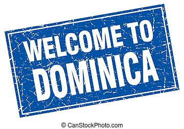 Dominica blue square grunge welcome to stamp