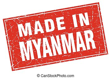 Myanmar red square grunge made in stamp
