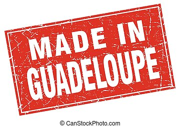 Guadeloupe red square grunge made in stamp