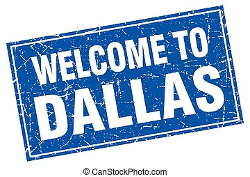Dallas blue square grunge welcome to stamp