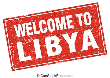 Libya red square grunge welcome to stamp