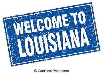 Louisiana blue square grunge welcome to stamp