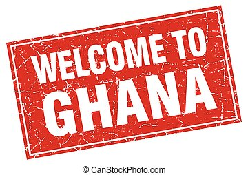 Ghana red square grunge welcome to stamp
