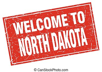 North Dakota red square grunge welcome to stamp