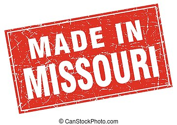 Missouri red square grunge made in stamp