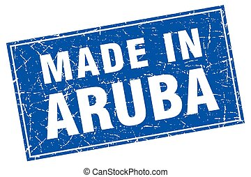 Aruba blue square grunge made in stamp