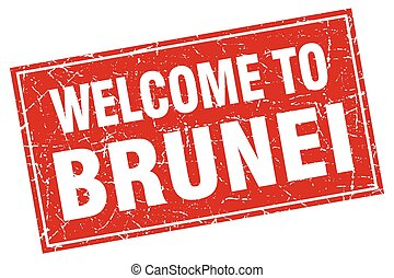 Brunei red square grunge welcome to stamp