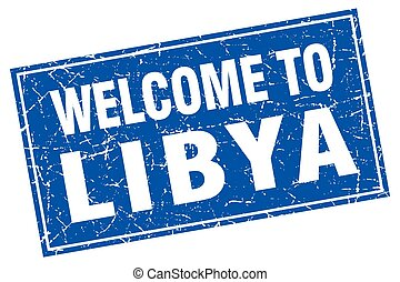 Libya blue square grunge welcome to stamp